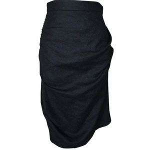 All Saints Louvre Pencil Skirt Ruched Black Wool 6